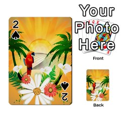 Cute Parrot With Flowers And Palm Playing Cards 54 Designs