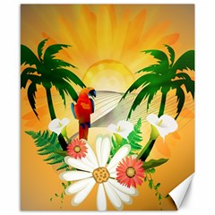 Cute Parrot With Flowers And Palm Canvas 8  x 10
