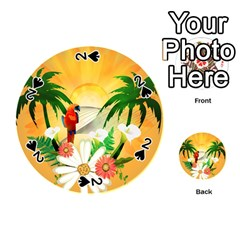Cute Parrot With Flowers And Palm Playing Cards 54 (round)