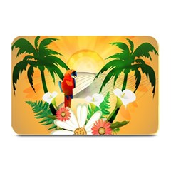 Cute Parrot With Flowers And Palm Plate Mats