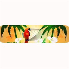 Cute Parrot With Flowers And Palm Large Bar Mats