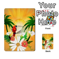 Cute Parrot With Flowers And Palm Multi Purpose Cards (rectangle)