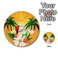 Cute Parrot With Flowers And Palm Multi Purpose Cards (round)