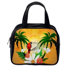Cute Parrot With Flowers And Palm Classic Handbags (One Side)