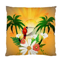 Cute Parrot With Flowers And Palm Standard Cushion Cases (Two Sides)