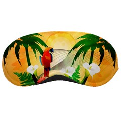Cute Parrot With Flowers And Palm Sleeping Masks