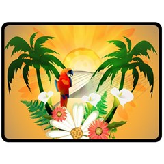 Cute Parrot With Flowers And Palm Fleece Blanket (Large)