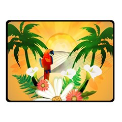 Cute Parrot With Flowers And Palm Fleece Blanket (small)