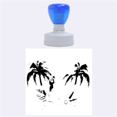 Cute Parrot With Flowers And Palm Rubber Round Stamps (large)