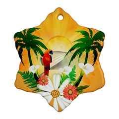 Cute Parrot With Flowers And Palm Snowflake Ornament (2-Side)