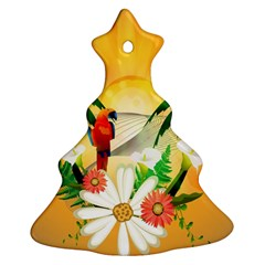 Cute Parrot With Flowers And Palm Christmas Tree Ornament (2 Sides)