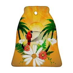 Cute Parrot With Flowers And Palm Bell Ornament (2 Sides)