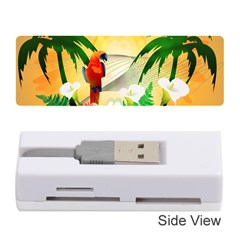 Cute Parrot With Flowers And Palm Memory Card Reader (Stick)