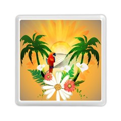 Cute Parrot With Flowers And Palm Memory Card Reader (square)