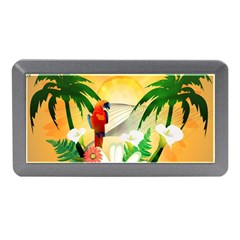 Cute Parrot With Flowers And Palm Memory Card Reader (Mini)