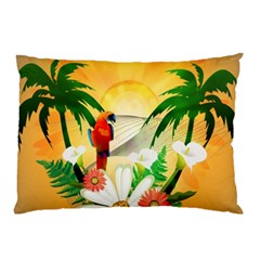 Cute Parrot With Flowers And Palm Pillow Cases (Two Sides)