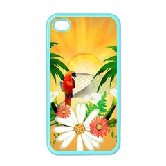 Cute Parrot With Flowers And Palm Apple iPhone 4 Case (Color)
