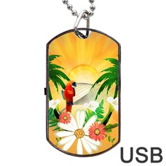 Cute Parrot With Flowers And Palm Dog Tag USB Flash (Two Sides)
