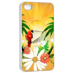 Cute Parrot With Flowers And Palm Apple Iphone 4/4s Seamless Case (white)