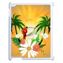Cute Parrot With Flowers And Palm Apple iPad 2 Case (White)