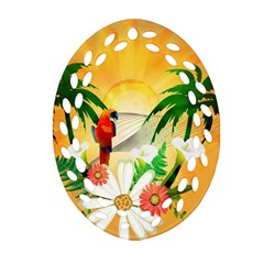Cute Parrot With Flowers And Palm Oval Filigree Ornament (2 Side)