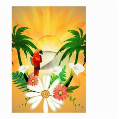 Cute Parrot With Flowers And Palm Small Garden Flag (Two Sides)