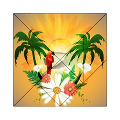 Cute Parrot With Flowers And Palm Acrylic Tangram Puzzle (6  x 6 )
