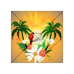 Cute Parrot With Flowers And Palm Acrylic Tangram Puzzle (4  x 4 )