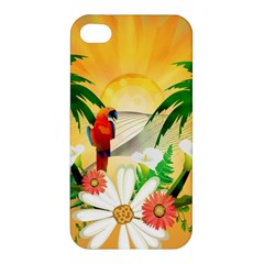 Cute Parrot With Flowers And Palm Apple iPhone 4/4S Premium Hardshell Case