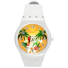 Cute Parrot With Flowers And Palm Round Plastic Sport Watch (M)