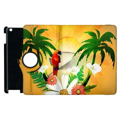 Cute Parrot With Flowers And Palm Apple iPad 3/4 Flip 360 Case