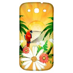 Cute Parrot With Flowers And Palm Samsung Galaxy S3 S III Classic Hardshell Back Case