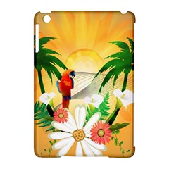 Cute Parrot With Flowers And Palm Apple iPad Mini Hardshell Case (Compatible with Smart Cover)