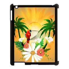 Cute Parrot With Flowers And Palm Apple iPad 3/4 Case (Black)
