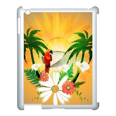 Cute Parrot With Flowers And Palm Apple iPad 3/4 Case (White)