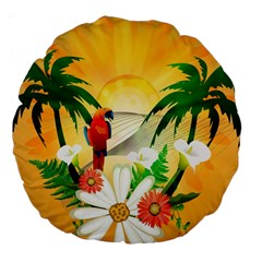 Cute Parrot With Flowers And Palm Large 18  Premium Round Cushions