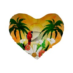 Cute Parrot With Flowers And Palm Standard 16  Premium Heart Shape Cushions
