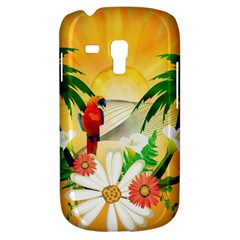 Cute Parrot With Flowers And Palm Samsung Galaxy S3 MINI I8190 Hardshell Case