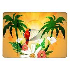 Cute Parrot With Flowers And Palm Samsung Galaxy Tab 10.1  P7500 Flip Case