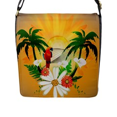 Cute Parrot With Flowers And Palm Flap Messenger Bag (L)