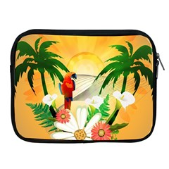 Cute Parrot With Flowers And Palm Apple iPad 2/3/4 Zipper Cases
