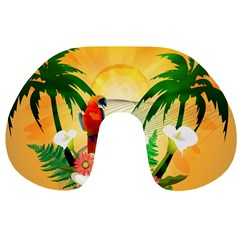 Cute Parrot With Flowers And Palm Travel Neck Pillows
