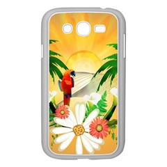 Cute Parrot With Flowers And Palm Samsung Galaxy Grand DUOS I9082 Case (White)