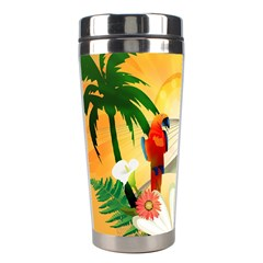 Cute Parrot With Flowers And Palm Stainless Steel Travel Tumblers