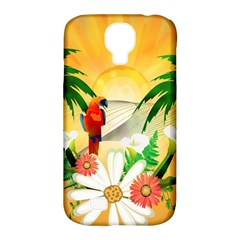 Cute Parrot With Flowers And Palm Samsung Galaxy S4 Classic Hardshell Case (PC+Silicone)