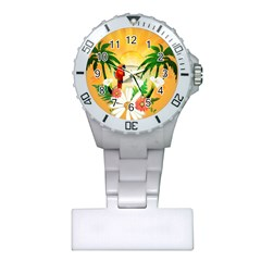 Cute Parrot With Flowers And Palm Nurses Watches
