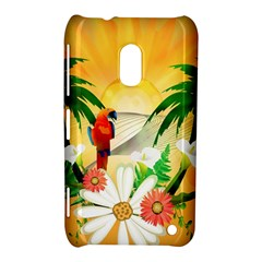 Cute Parrot With Flowers And Palm Nokia Lumia 620