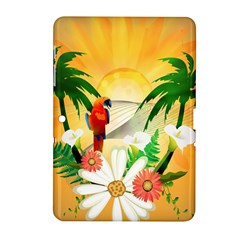Cute Parrot With Flowers And Palm Samsung Galaxy Tab 2 (10.1 ) P5100 Hardshell Case