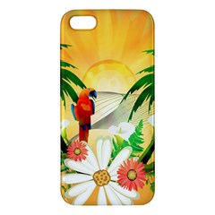 Cute Parrot With Flowers And Palm iPhone 5S Premium Hardshell Case
