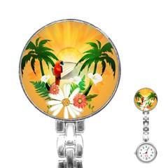 Cute Parrot With Flowers And Palm Stainless Steel Nurses Watches